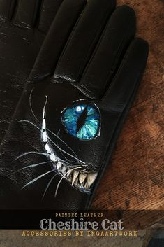 Custom Cheshire Cat smooth black leather long women gloves with painted Alice in Wonderland art Wrist Warmers, Hand Warmers, Unique Paintings, Warm And Cozy, Cozy Winter, Painting Leather, Cheshire Cat, Leather Gloves, Steampunk Fashion