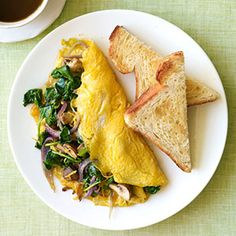 Omelet,   Ingredients  Broccoli, spinach, onion and/or mushrooms  2 large eggs  Pinch of salt and pepper  2 tablespoons grated cheddar cheese  Directions  1. Coat an 8-inch nonstick skillet with nonstick cooking spray. Add desired vegetables and cook 5 minutes, until softened. Remove from pan.  2. Add more nonstick spray to skillet. Scramble eggs, adding salt and pepper. Pour eggs into pan; cook 30 seconds until eggs begin to set.