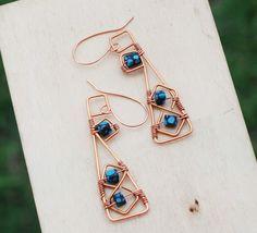 Geometric Square Copper Wire Wrap Blue Bead Unique Earrings Jeanninehandmade #Jeanninehandmade #Wrap