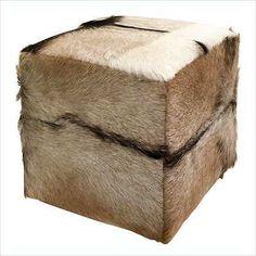 2016 Imax Exclusive Pacino Animal Hide Ottoman / Footstool 51379, teakwood decor