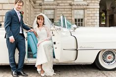 Stylish bride and groom in white caddilac convertible. Photography by www.anushe.com