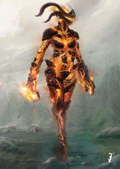 Elder Scrolls - Fire Atronach 02 by ~RobertoGomesArt on deviantART