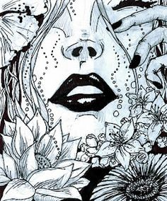 pen and ink upclose partial girls face, floral and ink wash?