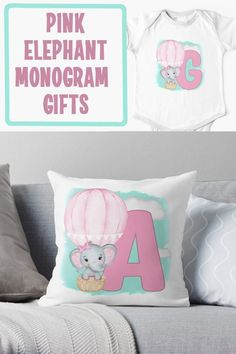 Are you looking for a cute baby shower gift? Get a personalized monogrammed gift. This cute pink monogram design is available in all 26 letters on a number of items. Baby Monogram, Monogram Design, Monogram Gifts, Cute Baby Shower Gifts, Newborn Babies, 26 Letters, New Mums, Pink Elephant, Everything Baby