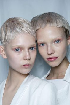 Josh Wood and Eugene Souleiman created icy white choir-boy crops for the Haider Ackermann Spring/Summer 2015 show.