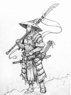 Paladin of the White Mountain. Super cool idea for a paladin. I have a campaign I'm working on no that I want to work him in. Samurai Drawing, Samurai Artwork, Samurai Tattoo, Fantasy Character Design, Character Design Inspiration, Character Art, Armor Concept, Concept Art, Japon Illustration