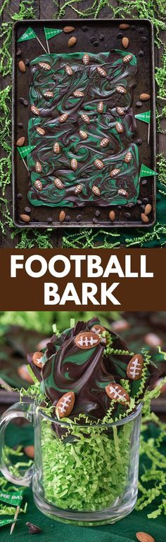 This recipe for football bark is perfect for game day or super bowl! Only 7 ingredients and ready in under 2 hours.
