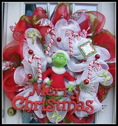 Work wreath, mesh. Homemade Christmas wreath--supplies at Partytime on Bluebonnet