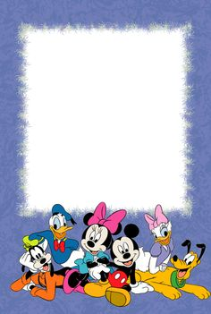 Purple PNG Kids Photo Frame with with Disney Characters