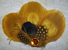 mustard yellow feather hair pin- idea for jacket? Katie solo