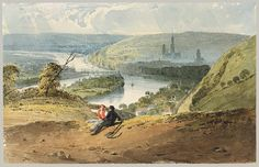 View of Rouen from St Catherine's Hill 1821-22 - watercolor by Bonington