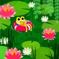 | ILLUSTRATIONS Painting Wallpaper, Nature Wallpaper, Frog Design, Design Art, Cartoon Drawings, Cute Drawings, Environment Painting, Frog Illustration, Frog Drawing
