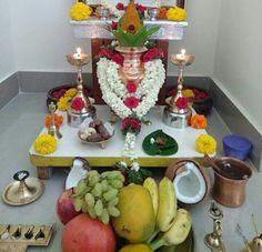 Varalakshmi Vratham 2019 honours the most popular Goddess Maha Lakshmi. Diy Diwali Decorations, New Years Decorations, Festival Decorations, Flower Decorations, Kalash Decoration, Decoration For Ganpati, Diwali Diy, Diwali Rangoli, Small Rangoli Design