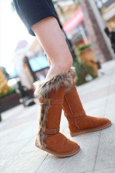 UGG Boots - Fox Fur Cuff Tall - Chestnut - 1984