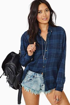Nasty Gal  After Party Vintage Tried And True Flannel - Navy