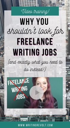 Freelance writing jobs? STOP looking for them. There's a MUCH better way to create a full-time income as a freelance writer. Watch this video for actionable advice that will help you make money writing online! :)