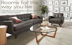 Living - Room & Board, Anson Leather Sofa & Chair, Dunn Cocktail Table