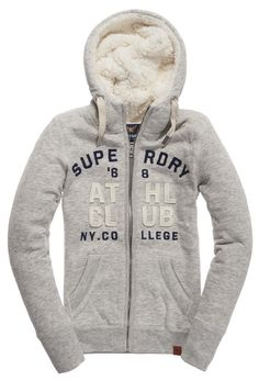 Superdry Applique Borg Ziphood Γυναικεία Μπλούζα Superdry