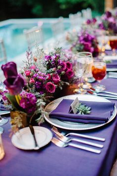 purple tablescape   http://www.weddingmusicproject.com/ceremony-music/wedding-hymns/