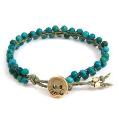 Turquoise beads Braided Vertebrae Gold on Sage Waxed Linen Bracelet