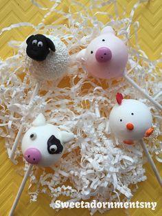 12 Pops de torta animales granja para partido por Sweetadornmentsny
