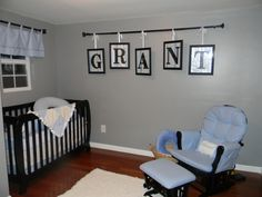 for a child's room - Wall Art - Handmade using curtain rods from , pictures frames, letters and paint from a hobby store, wrapping paper purchased★★ good size Shelby will like this