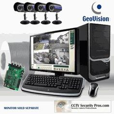 4 Indoor/Outdoor Sony 480 Lines CCD Infrared Cameras, GeoVision Card with PC Installed and Tested Complete System by CCTVSecurityPros. $1599.99