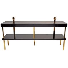 Brass and Lacquered Wood Console with Two Drawers | From a unique collection of antique and modern console tables at http://www.1stdibs.com/furniture/tables/console-tables/