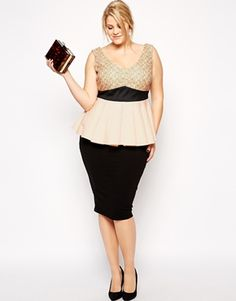 ASOS CURVE Peplum Top In Lace And Scuba Mix
