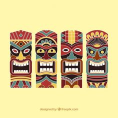 Hand drawn totem set Free Vector