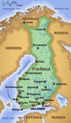 Map of Finland Helsinki - Sweden- Oslo - Kakslauttanen - Rovaniemi my dream journey. Finland Map, Norway Sweden Finland, Finland Travel, Helsinki, Finnish Language, Thinking Day, Maps, Tours, Physical Geography