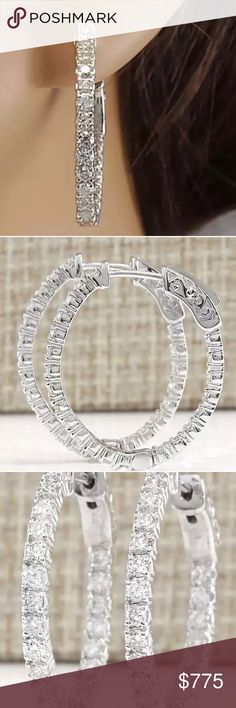 *LAST DAY* 1 carat 14k diamond hoop earrings Beautiful 1 carat 14k diamond hoop earrings! High quality! F color/VS2-SI1 clarity diamonds! Jewelry Earrings