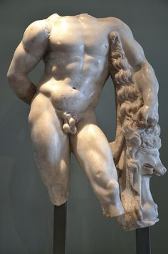 Marble statue of Hercules leaning on his club, which has the skin of the Nemean lion draped over it, 2nd - 3rd century AD, Villa Chiragan, MSR, Musée Saint-Raymond