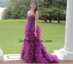 Testimonials Styles, Beautiful Fuchsia Beading Ruffled Layers Prom Dress Style HP325080, prom dress