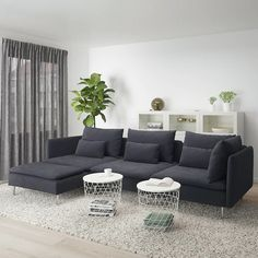 SÖDERHAMN sofa – with chaise longue, samsta dark gray – IKEA Austria - living room furniture sectional Ikea Sofa Grau, Ikea Sofas, Ikea Couch, Söderhamn Sofa, Modular Sectional Sofa, Sectional Couches, Sofa Beds, Ikea Soderhamn, Design Salon