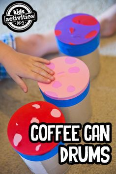 2 year old sensory play: Coffee Can Drums