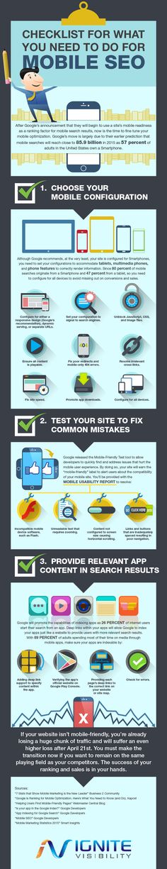 You need to go mobile for SEO. View this mobile SEO checklist infographic to get your site ranking better in mobile now.