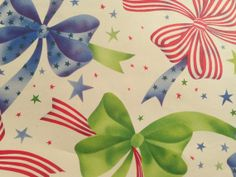 Vintage Christmas Gift Wrapping Paper - Patriotic Stars and Stripes Christmas Bows - Ribbon - 1 Unused Full Sheet Gift Wrap