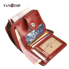 TANGIMP Vintage Genuine Real Leather Wax Women Short Wallets Coin Pocket Credit Card Female Purses Money Clip billetera mujer