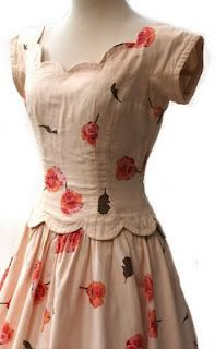 1950's scalloped day dress, I want a pattern to make this for Gwen!