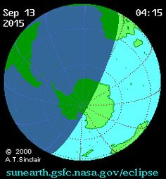This animation shows the regions that will be able to see some degree of the partial solar eclipse on Sept. 13, 2015. The darker shadow represents night, while the lighter, rounded shaParts of the South Atlantic and South Africa experienced a partial solar eclipse today, but we're already getting excited about the August 2017 full solar eclipse that will streak across central America.  Here's a visualization of what will happen in just under two years.  See more videos…