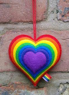 Items similar to Large Felt Bright Rainbow Heart Ornament - Rainbow Decoration - Felt Gift - Rainbow Decor - Layered Heart - Valentines Gift on Etsy Taste The Rainbow, Rainbow Heart, Felt Gifts, Rainbow Decorations, Rainbow Crafts, Felt Patterns, Heart Ornament, Felt Fabric, Felt Hearts