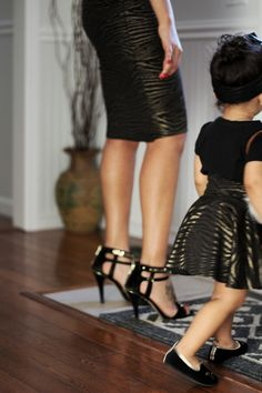 Mother Daughter Matching Skirts - Golden and Black