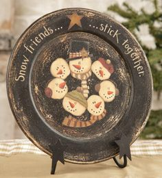 Wooden Plate - Snow Friends Stick Together & Primitive Snowman Wooden Plate 31125F - Families are Forever ...