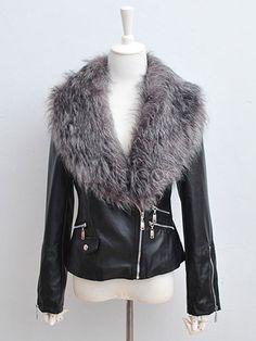 PU Leather Zipper Jacket With Fur Collar - Milanoo.com