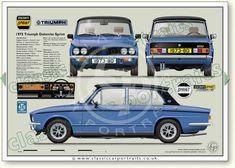 Triumph Dolomite Sprint 1973-80 classic car portrait print Classic Cars British, British Sports Cars, Car Prints, Blue Prints, Retro Cars, Vintage Cars, Automobile, Classic Mercedes, Classic Motors