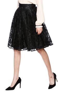Lace A-line skirt with box pleats, layers of organza underneath, and a back zipper closure.    Black Lace A-Line Skirt by Kikiriki. Clothing - Skirts - Knee Clothing - Skirts - A Line New Jersey