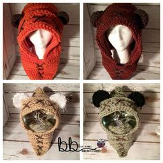 (4) Name: 'Crocheting : Ewok Hood from Star Wars
