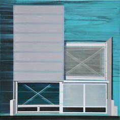 """Façade 7,"" geometric painting by Cécile van Hanja. Go inside of her studio: http://magazine.saatchiart.com/articles/artnews/saatchi-art-news/inside-the-studio-saatchi-art-news/cecile-van-hanja #blue"
