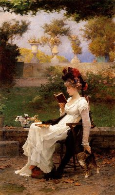 """""""Reading outdoors with cat"""" - painting of woman reading by Marcus Stone (British painter, Victorian Paintings, Victorian Art, Victorian Ladies, Reading Art, Woman Reading, Reading Books, James Joseph, Books To Read For Women, Lectures"""